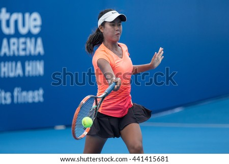 HUA HIN, THAILAND-JUNE 22:Chompoothip Jandakate of Thailand returns a ball during the final of 2016 Financia Syrus ATT Thailand on June 22, 2016 at True Arena Hua Hin in Hua Hin, Thailand