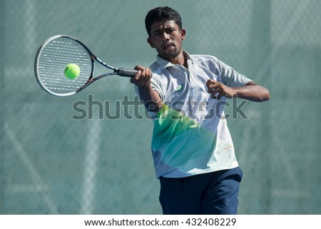 HUA HIN, THAILAND-JUNE 6:Suraj Prabodh of India returns a ball during Day 1 of The Qaunt Group ATT Thailand M3 on June 6, 2016 at True Arena Hua Hin in Hua Hin, Thailand