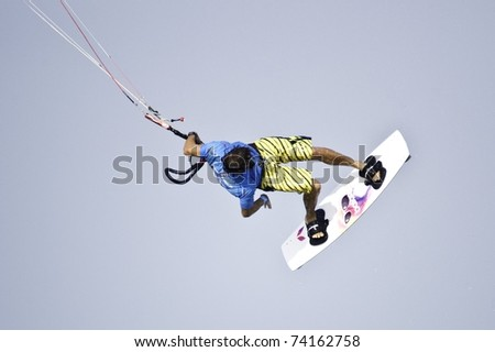 HUA HIN THAILAND - MARCH 14: PKRA Freestyle rider Alvaro Onieva of Spain competes on Day 1 of 2011 Hua Hin Kiteboard World Cup on March 14, 2011 at Hua Hin Beach in Hua Hin, Thailand