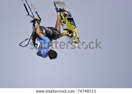 HUA HIN THAILAND - MARCH 14: PKRA Freestyle rider Julien Kerneur of France competes on Day 1 of 2011 Hua Hin Kiteboard World Cup on March 14, 2011 at Hua Hin Beach in Hua Hin, Thailand