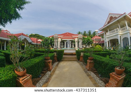 HUA HIN, THAILAND - MAY 13: Wora Bura Hotel on May 13, 2016 in Hua Hin. It was designed as Thai-Colonial style concept, situated along 75 metres of beachfront of Hua HIn.