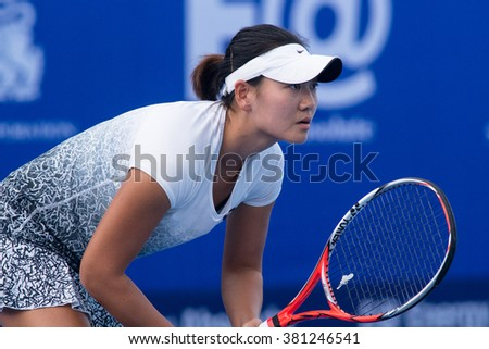 HUA HIN, THAILAND-NOVEMBER 12:Chang Liu of China prepares to return a serve during Day 4 of EA Hua Hin Championship 2015 on November 12, 2015 at Hua Hin Centennial Club in Hua Hin, Thailand