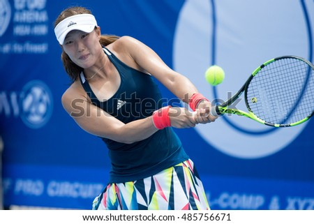 HUA HIN, THAILAND-SEPTEMBER 19:Ji-Hee Choi of Korea returns a ball during Day 1 of ITF Thailand Women's Pro Circuit 1 on September 19, 2016 at True Arena Hua Hin in Hua Hin, Thailand