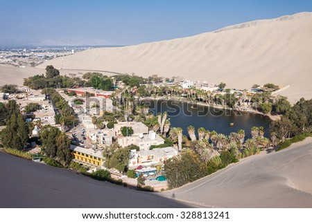 Huacachina oasis in the Ica Region, Peru - stock photo