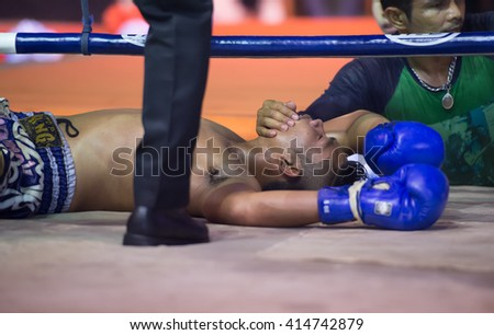 HUAHIN THAILAND-16APR,2016:Unidentified people,Muaythai,Boxer's knockout,Thai boxing Martial Art of Thailand at huahin,thailand on 16 april 2016 - stock photo