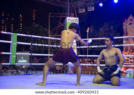 HUAHIN THAILAND-16APR,2016:Unidentified people,Muaythai,Thai boxing Martial Art of Thailand,Free Admission at huahin,thailand on 16 april 2016 - stock photo