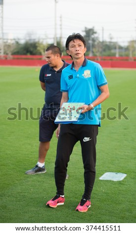 HUAHIN THAILAND-FEB6,2016 : Dusit Chaleamsean head coach of prachuap fc  in action during friendly match pre-season during prachuap fc vs ratchaburi mitr pol fc at true arena huahin , thailand