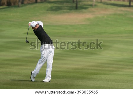 HUAHIN, THAILAND-FEBRUARY 12: Chien-yao Hung of Korea in action during Round 1 of 2015 True Thailand Classic on February 12, 2015 at Black Mountain Golf Club in Hua Hin, Thailand - stock photo