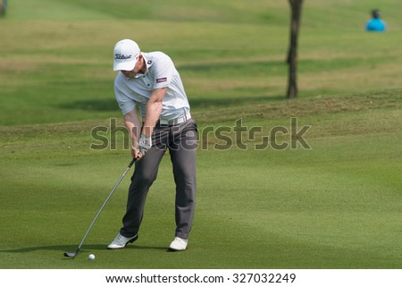 HUAHIN, THAILAND-FEBRUARY 12: Chris Lloyd of England in action during Round 1 of 2015 True Thailand Classic on February 12, 2015 at Black Mountain Golf Club in Hua Hin, Thailand - stock photo