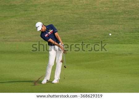 HUAHIN, THAILAND-FEBRUARY 12: Itthipat Buranatanyarat of Thailand in action during Round 1 of 2015 True Thailand Classic on February 12, 2015 at Black Mountain Golf Club in Hua Hin, Thailand