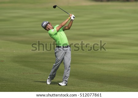 HUAHIN, THAILAND-FEBRUARY 13: Nicholas Fung of Malaysia in action during Round 2 of 2015 True Thailand Classic on February 13, 2015 at Black Mountain Golf Club in Hua Hin, Thailand