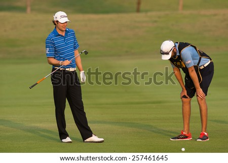 HUAHIN, THAILAND-FEBRUARY 12: Peter Uihlein of USA during Round 1 of 2015 True Thailand Classic on February 12, 2015 at Black Mountain Golf Club in Hua Hin, Thailand - stock photo