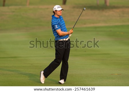 HUAHIN, THAILAND-FEBRUARY 12: Peter Uihlein of USA in action during Round 1 of 2015 True Thailand Classic on February 12, 2015 at Black Mountain Golf Club in Hua Hin, Thailand - stock photo