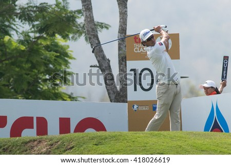 HUAHIN, THAILAND-FEBRUARY 12: Rafa Cabrera-bello of Spain in action during Round 1 of 2015 True Thailand Classic on February 12, 2015 at Black Mountain Golf Club in Hua Hin, Thailand - stock photo