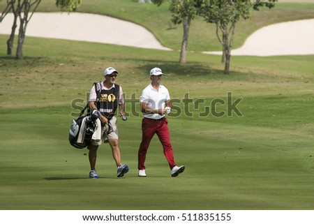 HUAHIN, THAILAND-FEBRUARY 13: Wade Ormsby of Australia and caddy during Round 2 of 2015 True Thailand Classic on February 13, 2015 at Black Mountain Golf Club in Hua Hin, Thailand