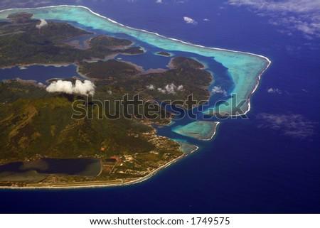 Huahine island lagoon, French Polynesia - stock photo