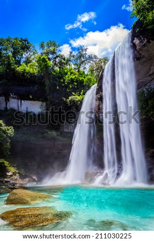 Huai Luang Waterfall at Ubon Ratchathani in Thailand - stock photo
