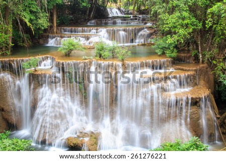 Huai Mae Khamin waterfall in deep forest, Thailand - stock photo