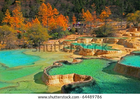 huanglong, world heritage site, china - stock photo