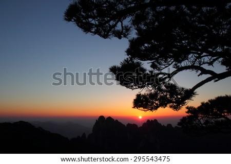 Huangshan MT Scenic Area-Huangshan,Anhui,China:Huangshan MT sunset - stock photo