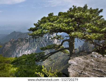 """Huangshan, """"Yellow Mountain"""" in eastern China. A subject of traditional Chinese paintings and literature, modern photography. UNESCO World Heritage Site, and one of China's major tourist destinations. - stock photo"""
