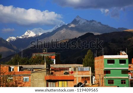 Huaraz City in Cordiliera Blanca, Peru, South America - stock photo