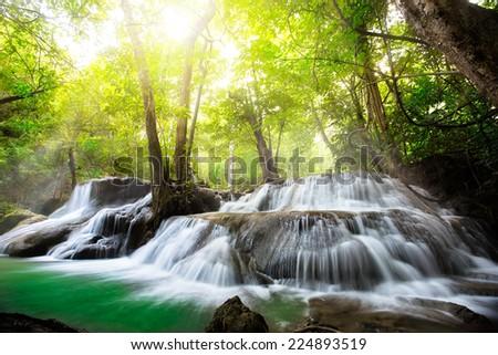 Huay Mae Kamin Thailand waterfall in Kanjanaburi - stock photo