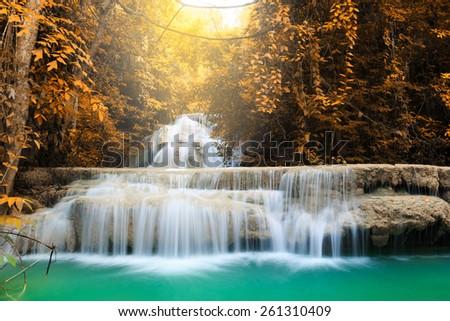 Huay Mae Kamin Waterfall, beautiful waterfall in deep forest, Kanchanaburi in Thailand - stock photo