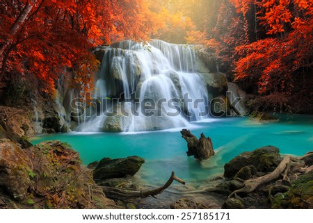 Huay Mae Kamin Waterfall, beautiful waterfall in deep forest, Kanchanaburi province, Thailand - stock photo