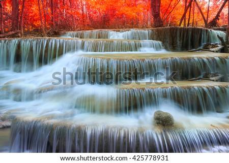 Huay Mae Kamin Waterfall, beautiful waterfall in rainforest, Kanchanaburi province, Thailand - stock photo
