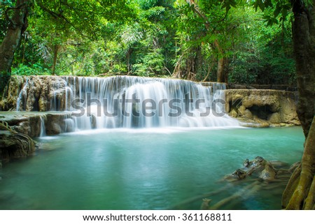 Huay Mae Kamin Waterfall in Khuean Srinagarindra National Park, Kanchanaburi Province. Thailand - stock photo