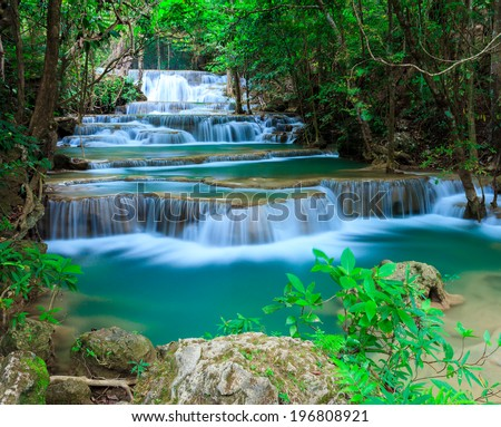 Huay Mae Kamin waterfall Kanjanaburi Thailand - stock photo