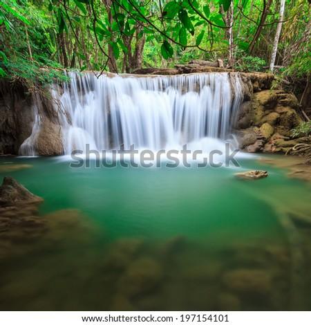 Huay Mae Kamin waterfall Kanjanaburi Thailand - stock photo