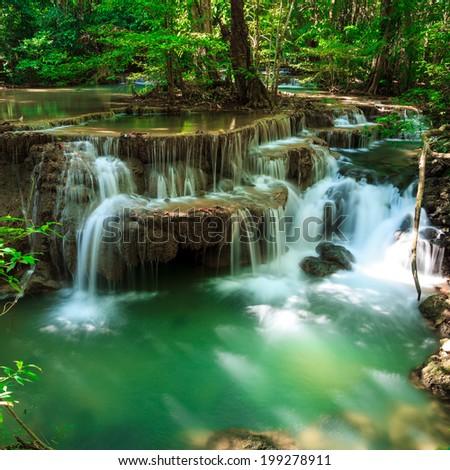 Huay Mae Kamin waterfall National Park Kanjanaburi Thailand - stock photo