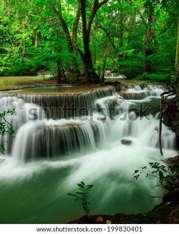 Huay Mae Kamin waterfall National Park Kanjanaburi Thailand - stock photo