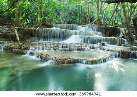 Huay Mae Kamin Waterfall , Srinakarin Dam National Park , Kanchanaburi , Thailand - stock photo