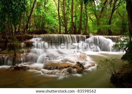 Huay Mae Khamin, beautiful waterfall in Thailand - stock photo