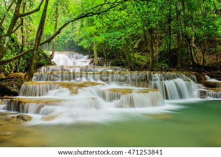 Huay Mae Khamin waterfall, famous natural tourist attraction in Kanchanaburi ,Thailand.