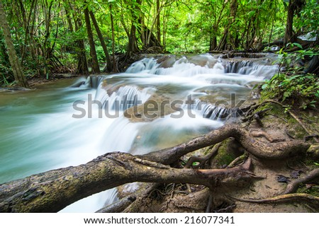 Huay Mae Khamin waterfall in deep forest, Thailand - stock photo