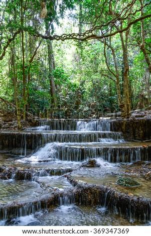 Huay Mae KhaMin Waterfall in Kanchanaburi province, Thailand - stock photo