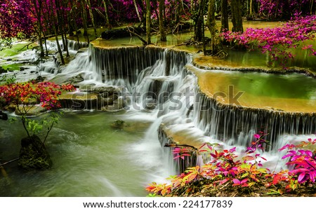 Huay Mae Khamin waterfall in tropical forest, Thailand - stock photo