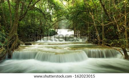 Huay Mae Khamin Waterfall, Paradise waterfall in Tropical rain f - stock photo