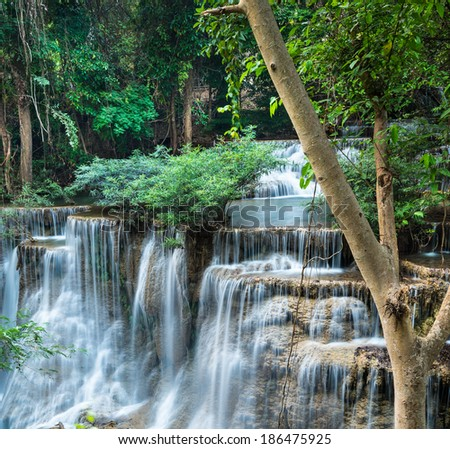 Huay Mae Khamin Waterfalls at Sri Nakarin National Park, Kanchanaburii, Thailand - stock photo