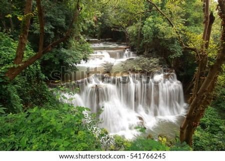 Huay Mae Khamin Waterfalls, one of the most beautiful waterfall in Thailand.