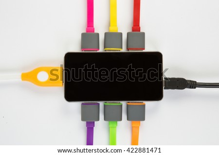 hub with set of the connected color wires - stock photo