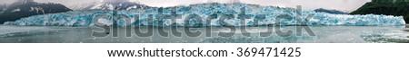 Hubbard Glacier while melting, Alaska huge panorama landscape - stock photo