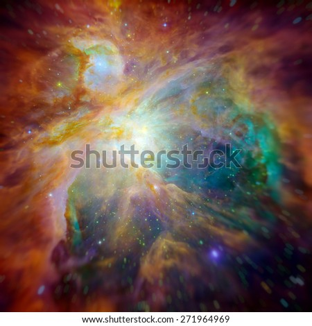Hubble panoramic view of Orion Nebula reveals thousands of stars. Space with stars, nebula and galaxy. Image with small DOF. Elements of this image furnished by NASA. - stock photo