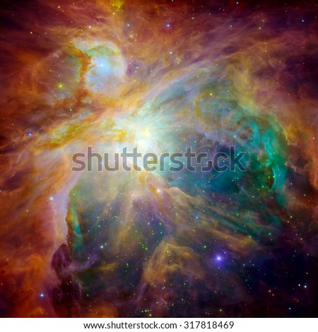 Hubble panoramic view of Orion Nebula reveals thousands of stars. Space with stars, nebula and galaxy. Elements of this image furnished by NASA. - stock photo