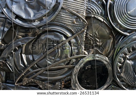 Hubcaps recycling at a scrapyard - stock photo