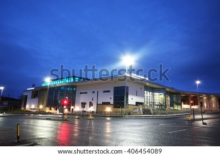 HUDDERSFIELD, UK - APRIL 16, 2016: Huddersfield sports centre. Huddersfield is a large market town and the largest settlement in the metropolitan borough of Kirklees, West Yorkshire,